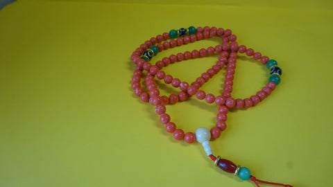 Large Red Coral Mala Bead