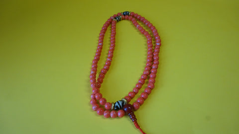 Small Red Coral Mala Bead.