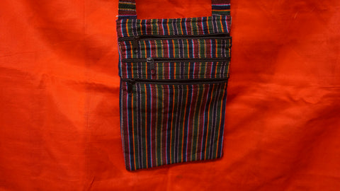 Small Cotton Multi-Stripe three zip Tote.
