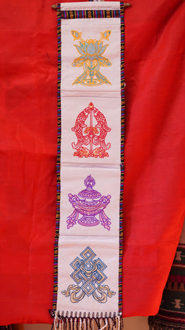 Four pocket traditional Tibetan wall hanger.