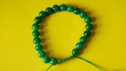 Adjustable Green Jade Wrist Mala.