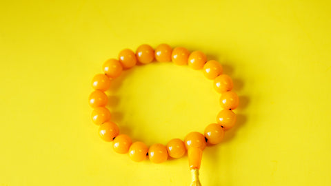 Yellow Stone with Silver Spacers Wrist Mala.