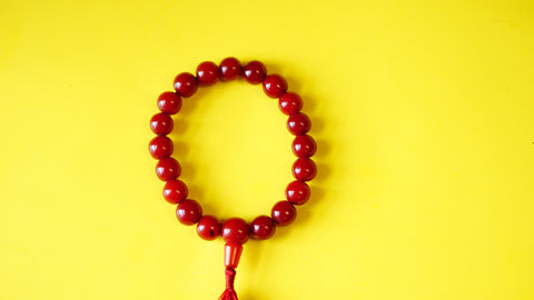 Stretchable, Dark-Red Stone with Silver Spacers Wrist Mala.