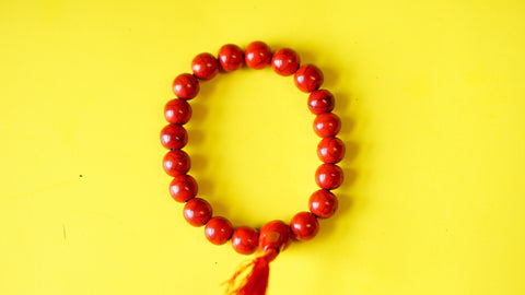 Stretchable Red Stone with Silver Spacers Wrist Mala.