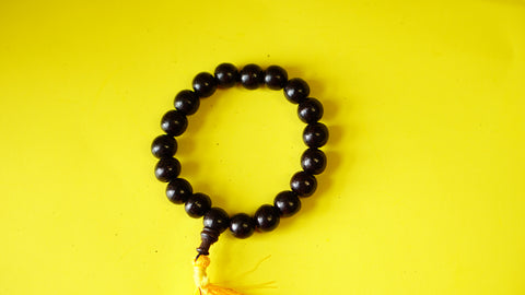 Stretchable, Large beads Dark-Red Wooden Wrist Mala.