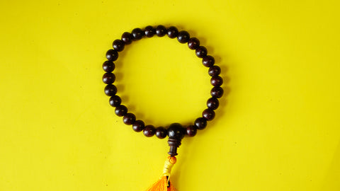 Small beads Stretchable Dark-Red Wooden Wrist Mala.