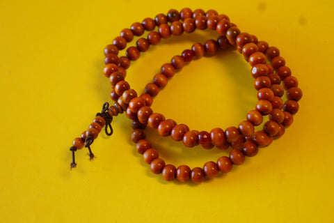Tibetan Orange and Brownish Wooden Mala.