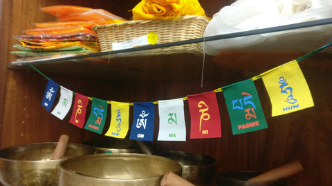 Small Buddha of Compassion Tibetan Prayer Flags Om Mani Padme Hum Set of 10