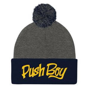Unisex Push Boy Pom Pom Knit Cap (Gold)