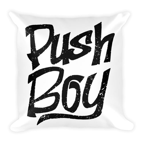 Push Boy Square Pillow (Black)