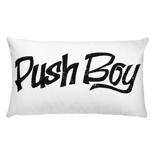 Push Boy Rectangular Pillow (Black)
