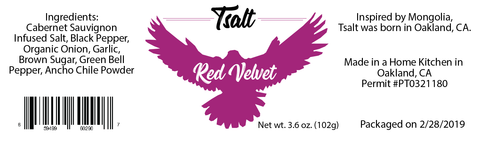 Tsalt Seasonings - Red Velvet (Cabernet Sauvignon Infused Salt Blend)