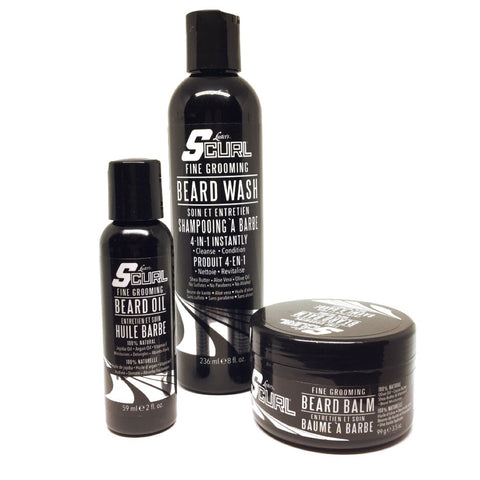 Scurl Mens Beard Grooming Kit - Shampoo - Oil and Balm