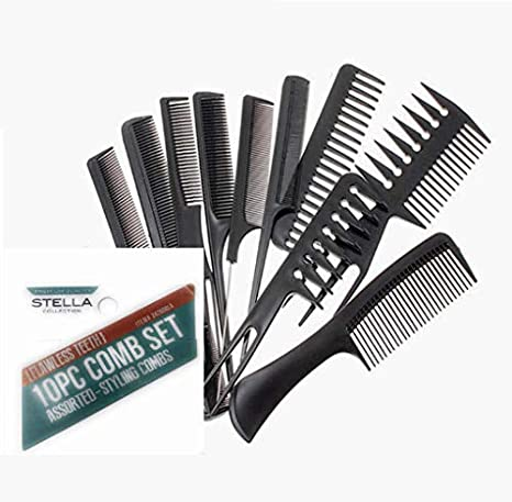 Stella Collection - 10 PC Comb Set (#24260BLA)