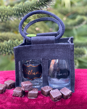 Hotham's Cardamom Gin & Glass with chocolates in a Tote Gift Bag