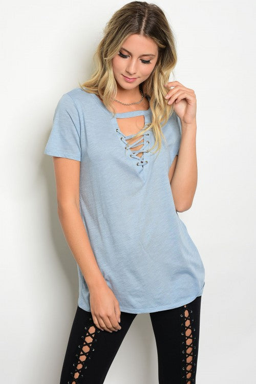 0ce1fc3892553 LIGHT BLUE TOP WITH LACE UP FRONT – Turli Boutique