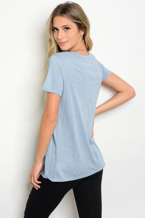 a4a4a24af29a6 LIGHT BLUE TOP WITH LACE UP FRONT – Turli Boutique