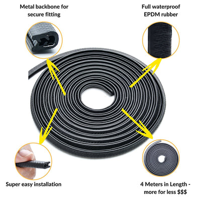 Black U Channel Rubber Edge Trim Protector: 16.4ft / 5 metres