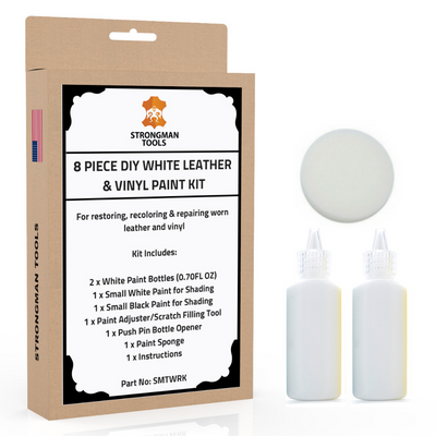 8 Pc Leather and Vinyl Paint Repair Kit: Shades of White