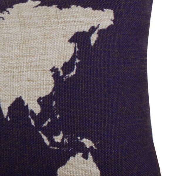World Map Pillow Case - Dark Blue Close up
