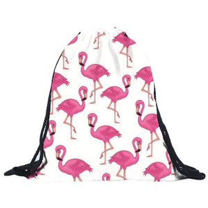 Drawstring Backpack - Flamingo
