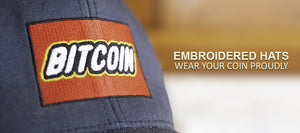 Embroidered bitcoin hats.