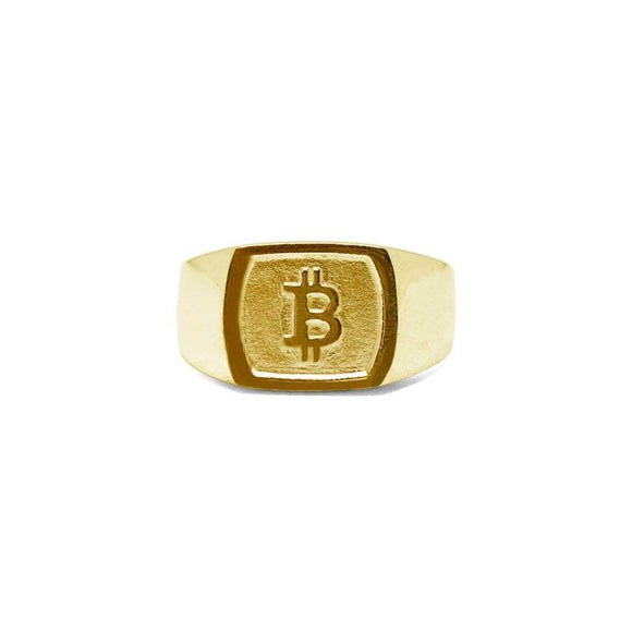 Bitcoin Solid Gold Square Ring - General Crypto Store
