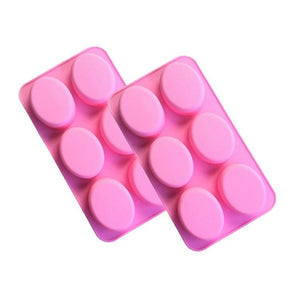 6 Cavity Oval Silicone soap Mold