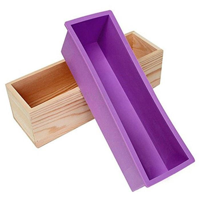 Rectangle Silicone Loaf Soap Mold with Wooden Box