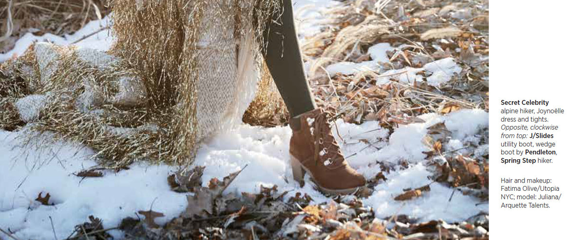 "Secret Celebrity ""Hiker Chic"" Photo Spread in January Footwear Plus"