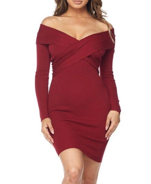 Cross Shoulder Long Sleeve Dress