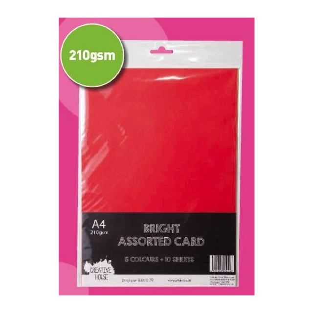Creative House A4 Bright Assorted Card - 210Gsm 5 Colours 10 Sheets Total Art Materials