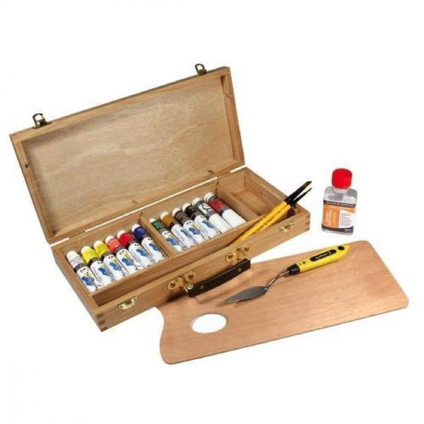 Daler Rowney System 3 Artists Wooden Gift Box Set Art Materials
