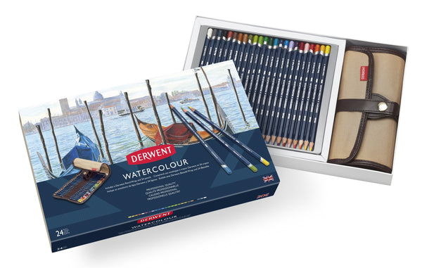 Derwent Watercolour Pencil Wrap & 24 Pencil Box Set Art Materials