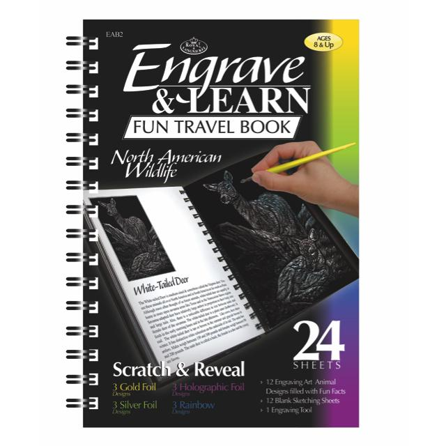 Royal & Langnickel Engrave And Learn Fun Travel Book North American Wildlife Art Materials