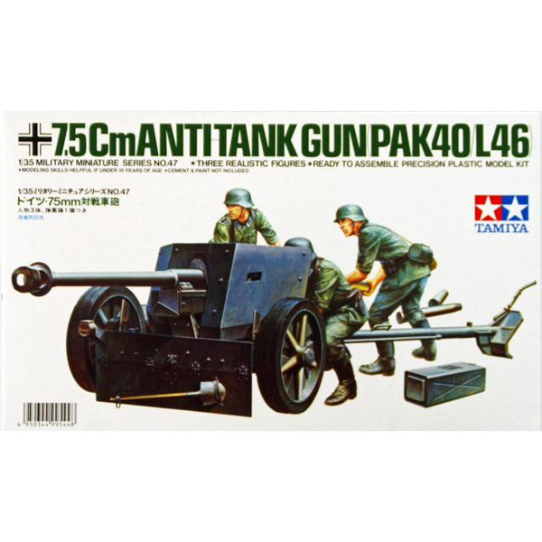 Tamiya 35047 Anti Tank Gun (Pak 40/l46) 1:36 Art Materials