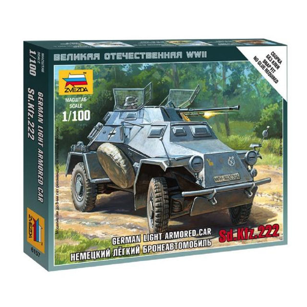 Zvezda 6157 German Light Armoured Car Sd.kfz. 222 1:100 Art Materials