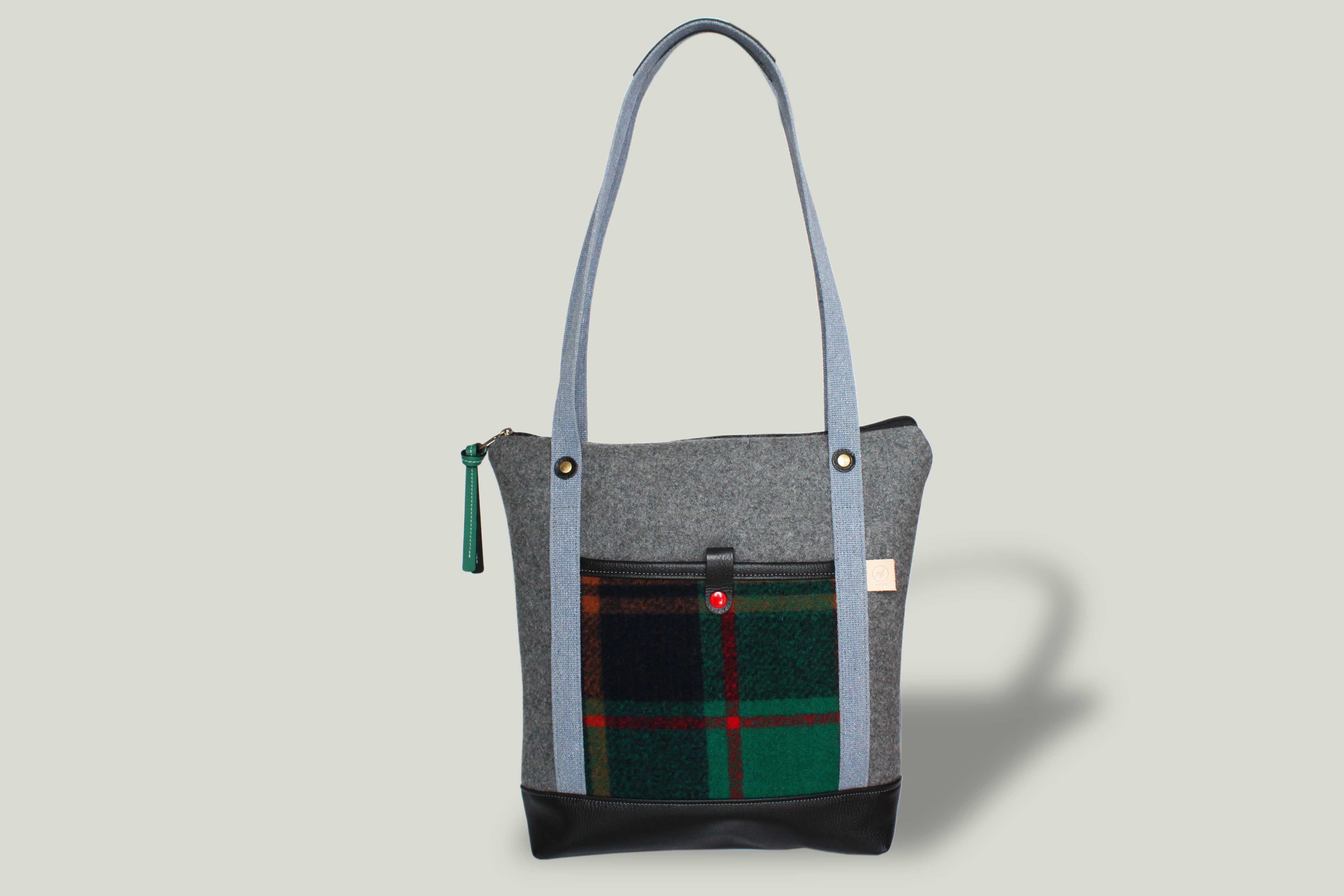 NO. 14 | TOTE BAG - GREY & GREEN