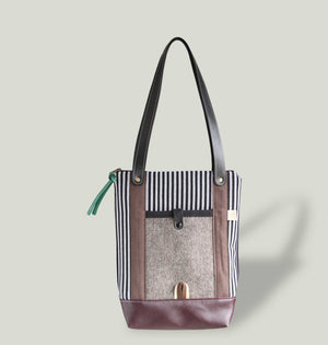 NO. 19 | VERTICAL TOTE BAG - BROWN STRIPES & WOOL