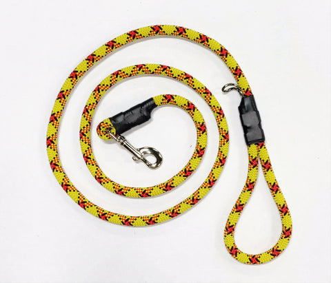 Rock Climbing Rope Leash - Yellow w/ Red & Black Stripe