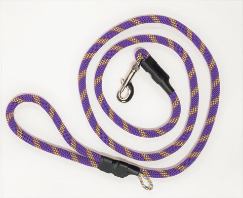 Rock Climbing Rope Leash - Purple w/ Yellow & Red Stripe