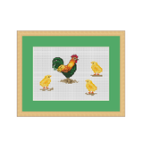 Rooster And Chickens Cross Stitch Pattern