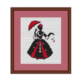 Lady With Umbrella Cross Stitch Pattern
