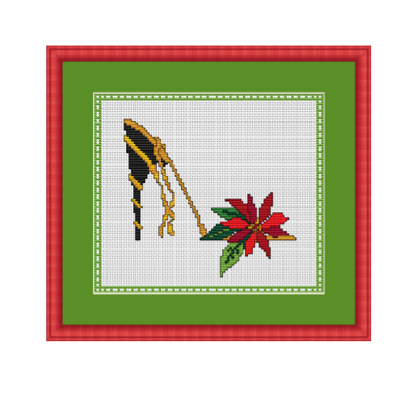 Poinsettias High Heel Cross Stitch Pattern