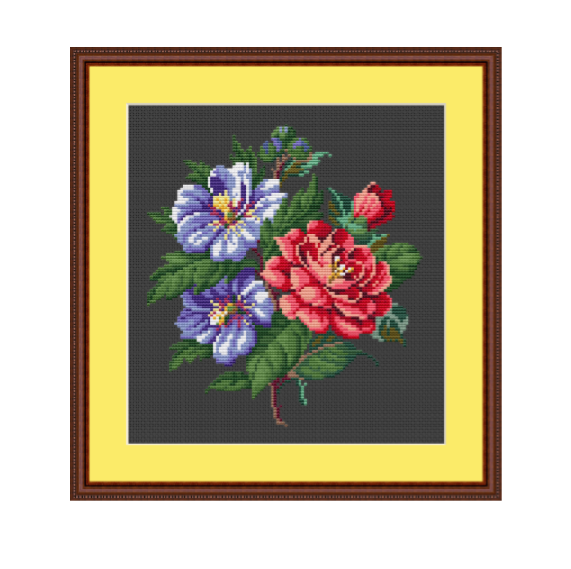 Bouquet Of Flowers Cross Stitch Pattern.