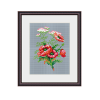 Bouquet Of Poppies Cross Stitch Pattern.