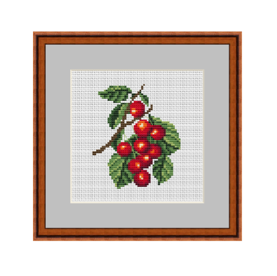 Cherries Cross Stitch Pattern. Kitchen Decor PDF Pattern.