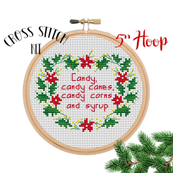 Candy, Candy Canes, Candy Corns And Syrup. Buddy The Elf Quotes Cross Stitch Kit.