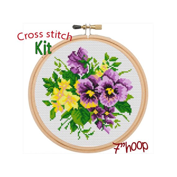 Daffodils And Violets Cross Stitch Kit. Flowers Cross Stitch Pattern. Modern Embroidery Kit. DIY.
