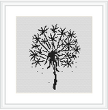 Dandelion Cross Stitch Kit. Modern Cross Stitch Pattern. Monochrome Cross Stitch.